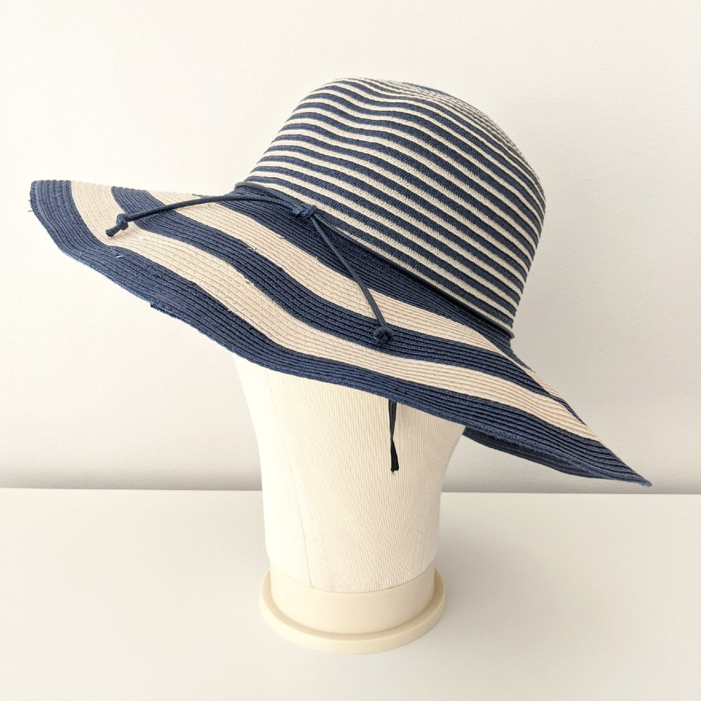 Floppy Striped Sun Hat-Hats-Suzanne Bettley-Black-Tegen Accessories Black