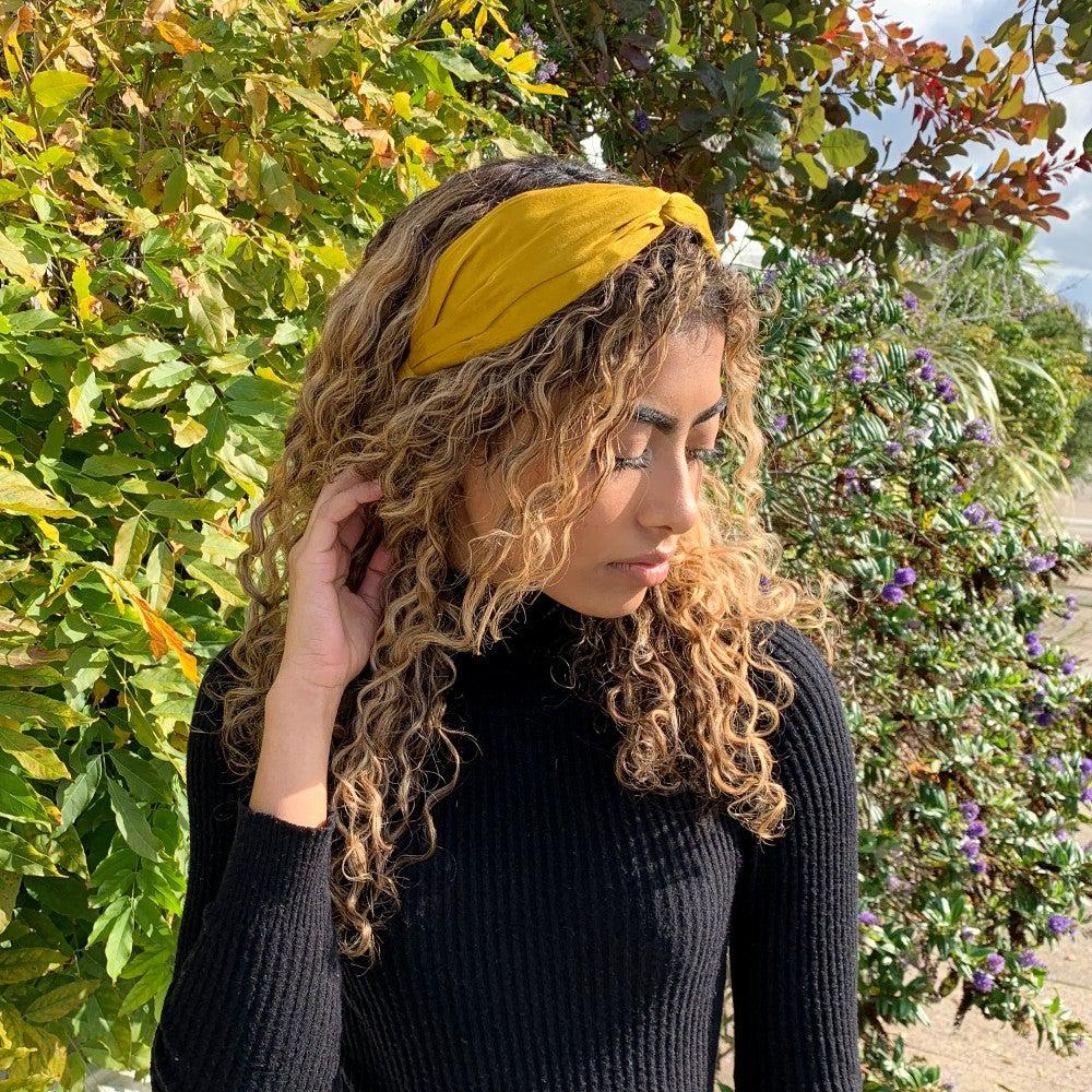 Handmade Fabric Knot Headband-Headbands-Tegen Accessories-Mustard-Tegen Accessories Yellow