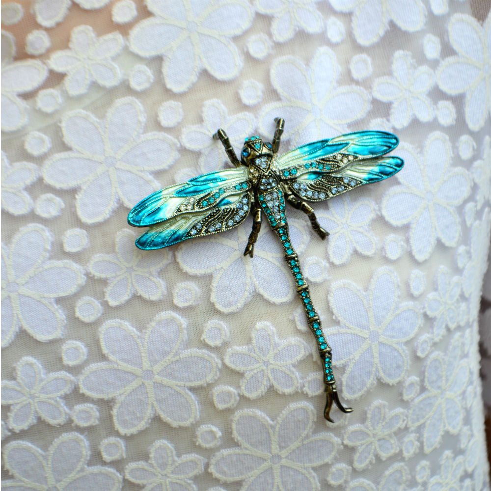 Hand Painted Dragonfly Brooch-Brooches-Tegen Accessories-Black Crystal-Tegen Accessories Grey Black