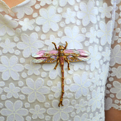 Hand Painted Dragonfly Brooch-Brooches-Tegen Accessories-Tegen Accessories