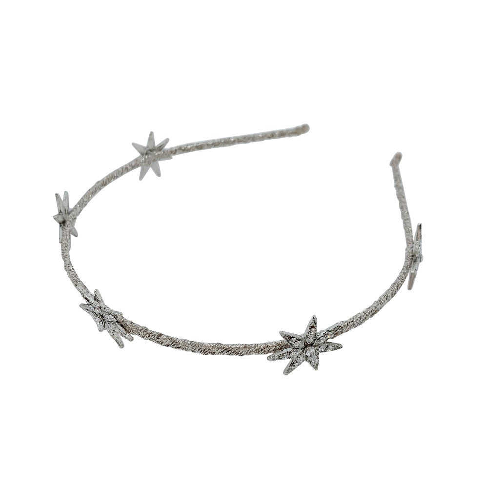 Metallic Swarovski Five Star Headband-Swarovski Crystal-Headbands-Tegen Accessories-Crystal Silver