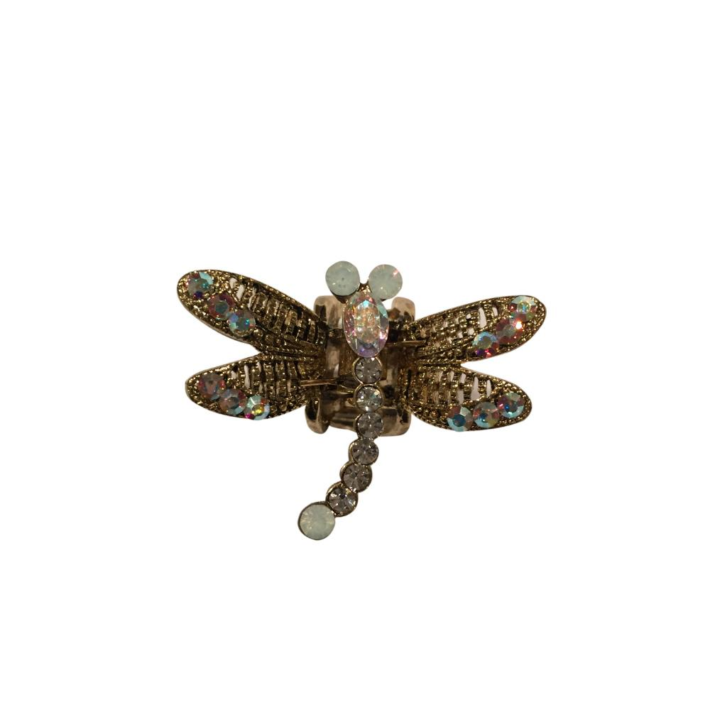 Mini Swarovski Crystal Dragonfly Hairclaw-Hair claws-Swarovski Crystal-Gold Crystal-Tegen Accessories