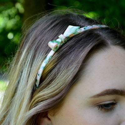 Mottled Bow Headband-Headbands-Rosie Fox-Pink/Green-Tegen Accessories