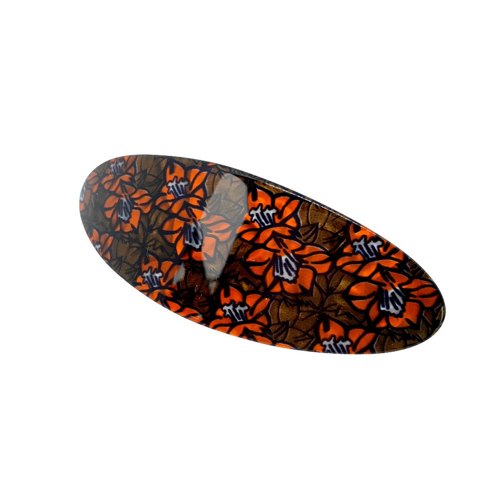 10.5cm Oval Barrette-Barrettes-Ooh La La!-Mint/Peach Floral-Tegen Accessories Orange Green