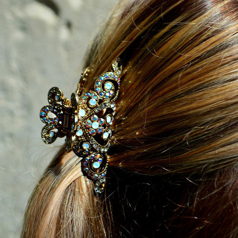 Small Swarovski Crown Hair Claw-Hair claws-Swarovski Crystal-Silver-AB Crystal-Tegen Accessories