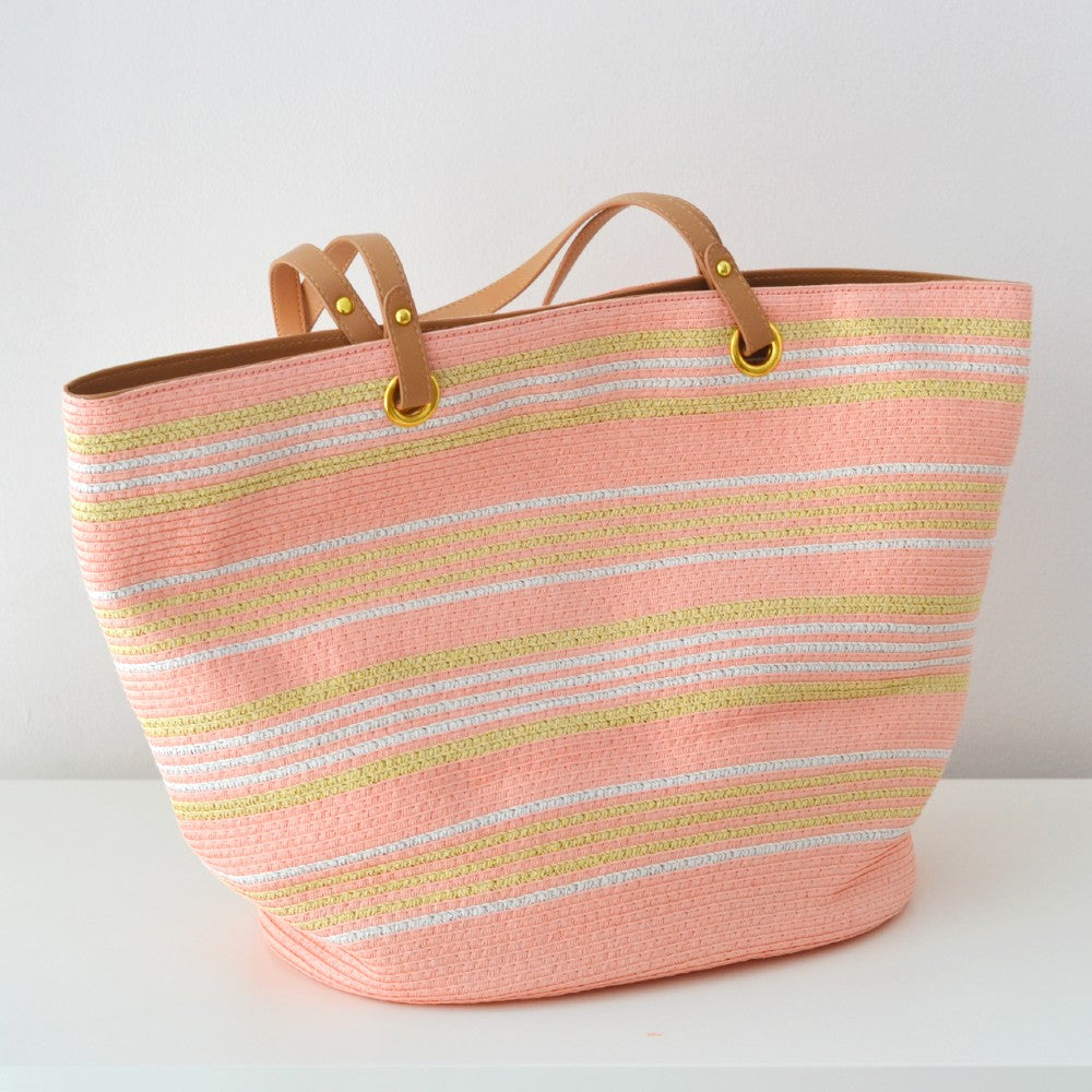 Striped Straw Tote Bag Orange Coral