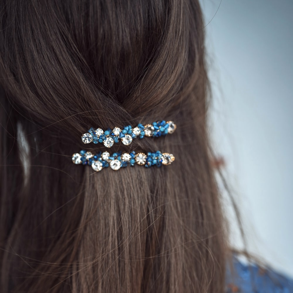 Swarovski Crystal Scatter Barrette-Swarovski Crystal-Barrettes-Tegen Accessories-Blue