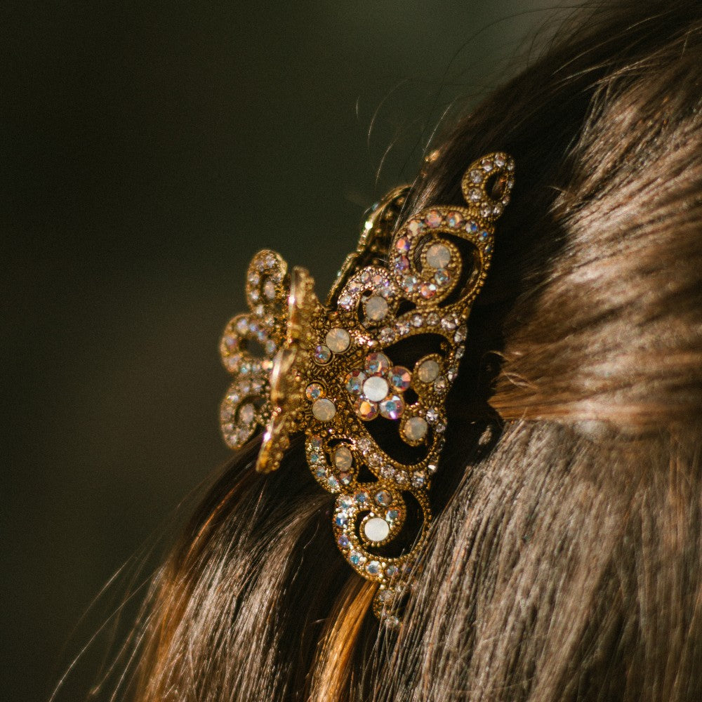 Small Swarovski Crown Hair Claw-Hair claws-Swarovski Crystal-Gold-AB Crystal-Tegen Accessories