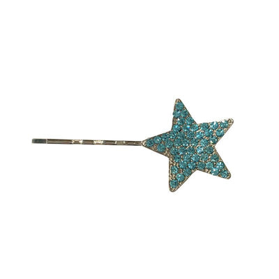 Swarovski Crystal Star Hair Slide-Clips & slides-Swarovski Crystal-Aqua Blue Crystal-Silver-Tegen Accessories
