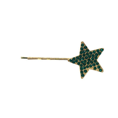 Swarovski Crystal Star Hair Slide-Clips & slides-Swarovski Crystal-Emerald Crystal-Gold-Tegen Accessories