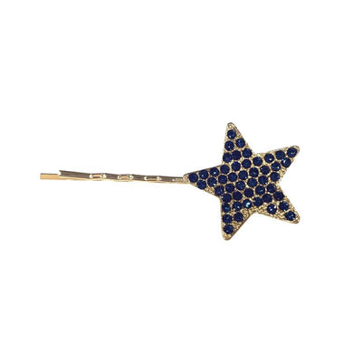 Swarovski Crystal Star Hair Slide-Clips & slides-Swarovski Crystal-Navy Crystal-Gold-Tegen Accessories