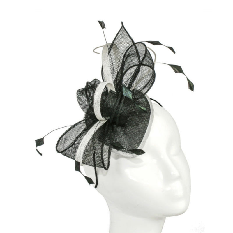 Teardrop Bow Fascinator-Discontinued-Black/Ivory-Tegen Accessories