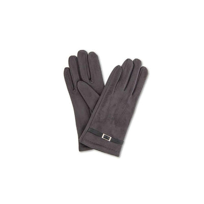 Alicia Faux Suede Gloves-Discontinued-Charcoal-Tegen Accessories