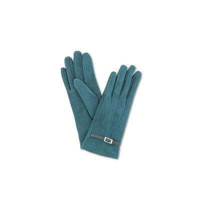 Alicia Faux Suede Gloves-Discontinued-Teal-Tegen Accessories