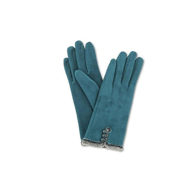 Amanda Faux Suede Gloves-Discontinued-Teal-Tegen Accessories