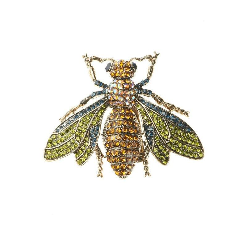 Amber Crystal Bug Hair Clip and Brooch-Brooches-Rosie Fox-Tegen Accessories Green