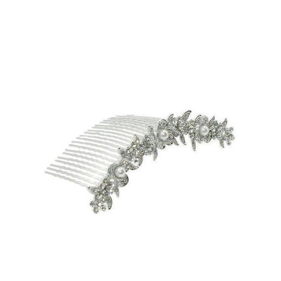 Antique Floral Bridal Comb-Discontinued-Clear Crystal-Silver-Tegen Accessories