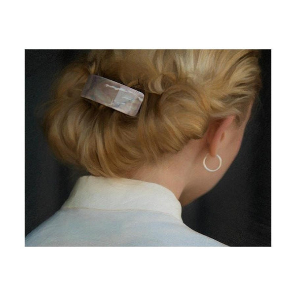 Arched Marble Barrette-Discontinued-Marble Grey-Tegen Accessories