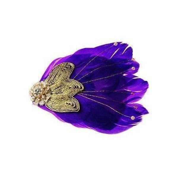 Art Deco Feather Hair Clip-Clips & slides-Rosie Fox-Purple-Tegen Accessories