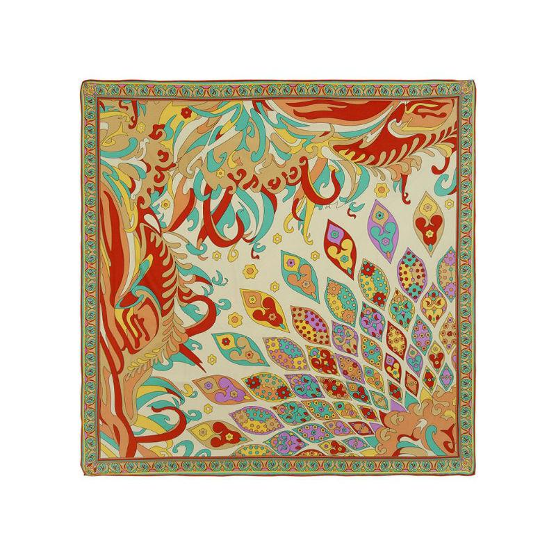 Art Deco Swirl Silk Scarf-Scarves-Rosie Fox-Light Pink-Tegen Accessories Green Blue