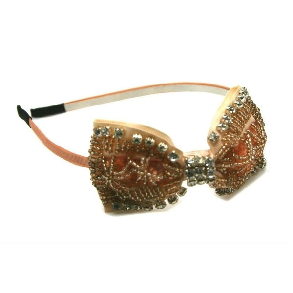 Beaded Bow Headband-Headbands-Rosie Fox-Nude-Tegen Accessories