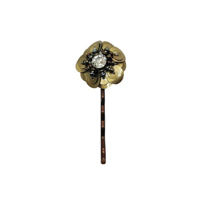 Beaded Sequin Flower Grip-Discontinued-Antique Gold-Tegen Accessories