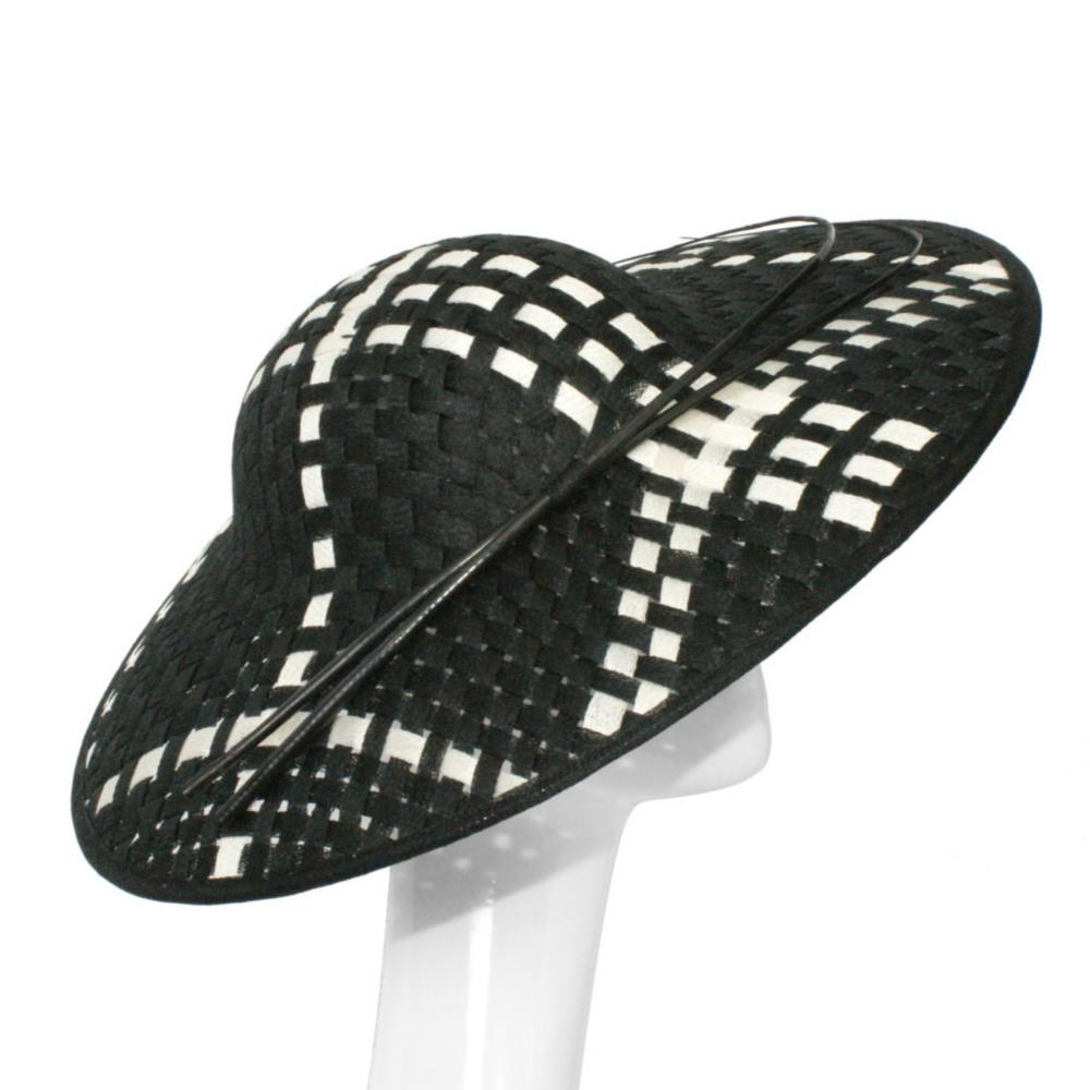 Black and White Chequered Large Fascinator-Fascinators-Peter Bettley-Tegen Accessories
