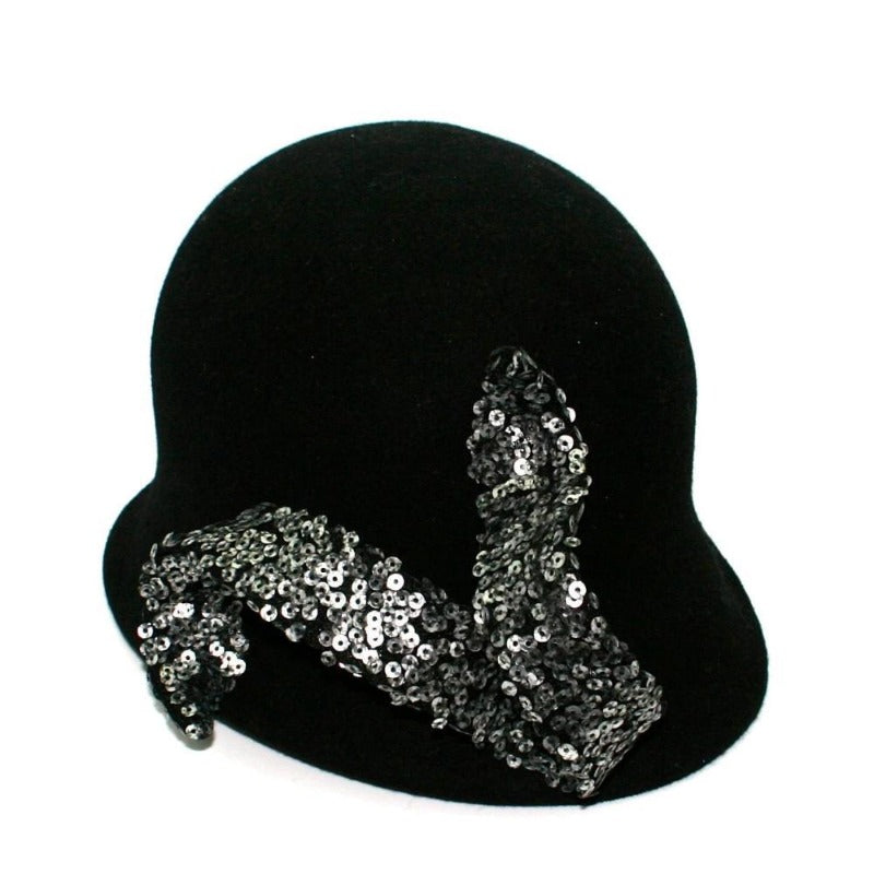 Black Cloche Hat with Sequin Swirl Tegen Accessories Sliver Black