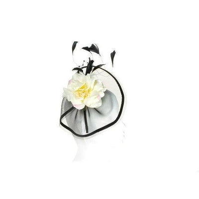 Black & Cream Floral Fascinator-Discontinued-Cream/Black-Tegen Accessories