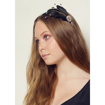Black Feather and Crystal Headband-Headbands-Rosie Fox-Tegen Accessories