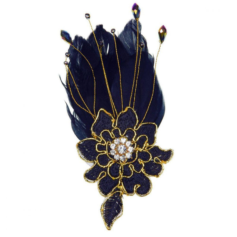 Black Hepburn Flower Feather Clip-Clips & slides-Rosie Fox-Tegen Accessories