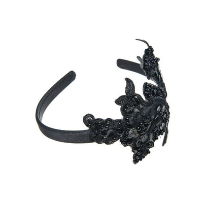 Black Lace Beaded Headband-Discontinued-Tegen Accessories