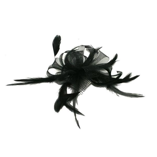 Black Looped Crin Fascinator-Fascinators-Tegen Accessories-Black-Tegen Accessories