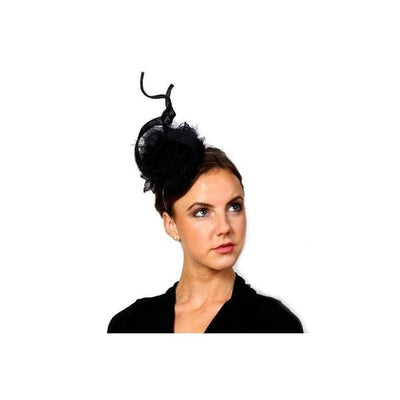Black Pompom Swirl Fascinator-Discontinued-Black-Tegen Accessories