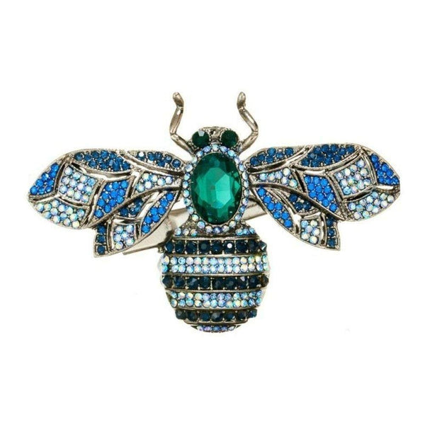 Blue Crystal Bug Hairclip and Brooch-Brooches-Rosie Fox-Tegen Accessories