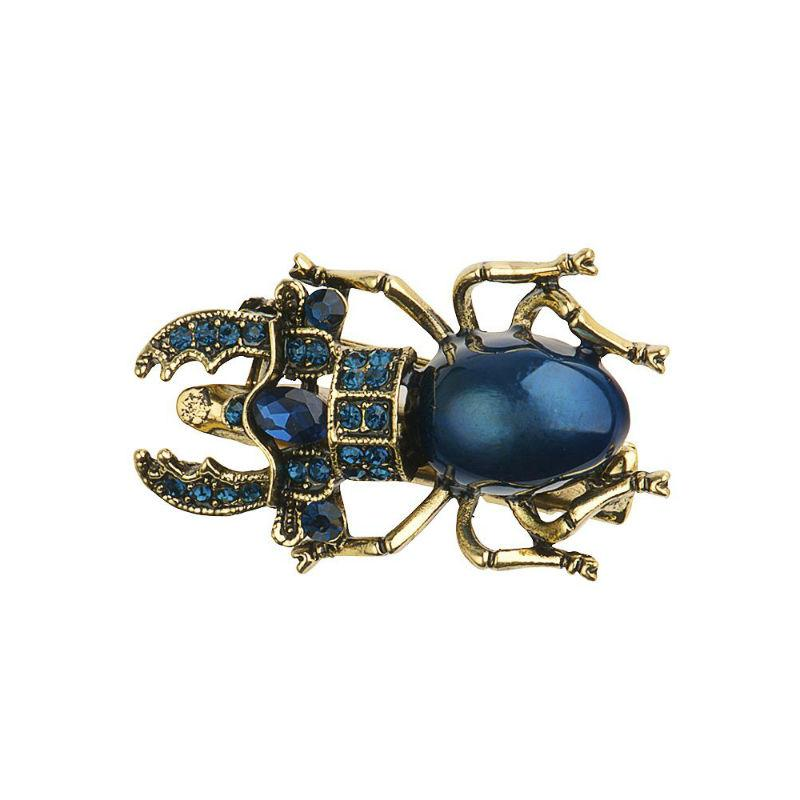Blue Crystal Scarab Beetle Hairclip/ Brooch-Brooches-Rosie Fox-Tegen Accessories