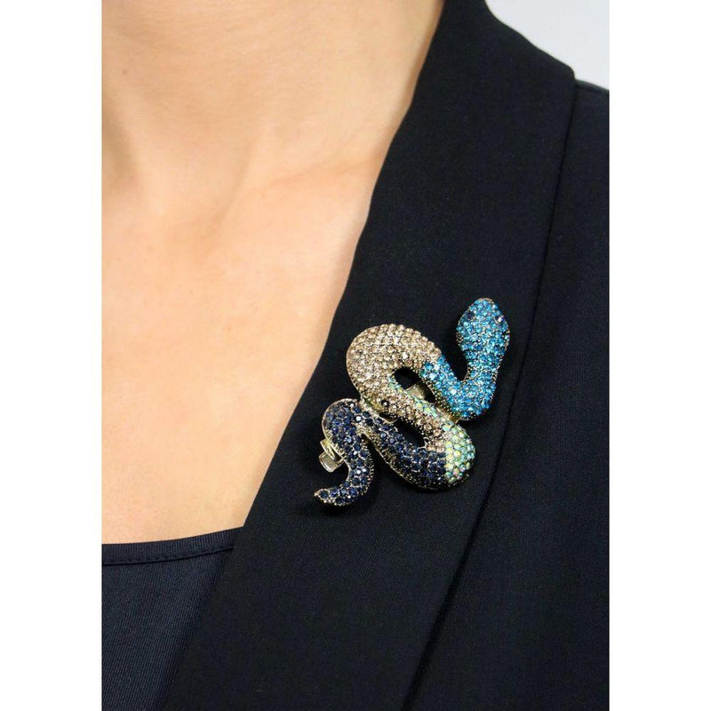 Blue Crystal Snake Hair Clip and Brooch-Brooches-Rosie Fox-Tegen Accessories
