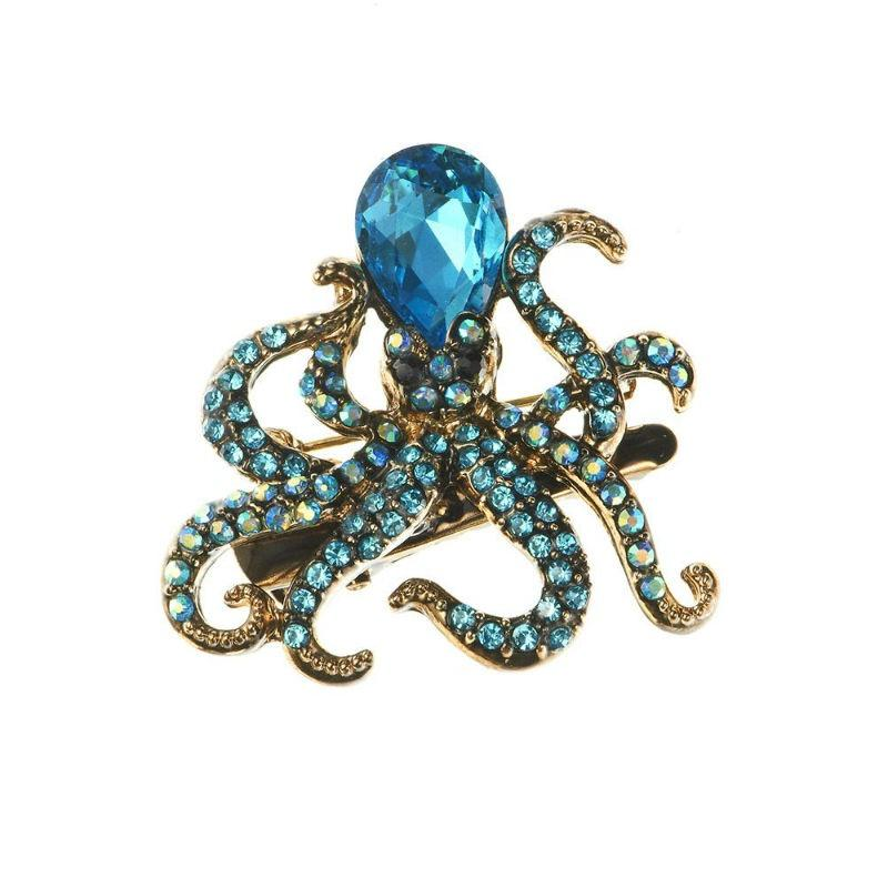 Blue Octopus Crystal Hair Clip and Brooch-Brooches-Rosie Fox-Tegen Accessories