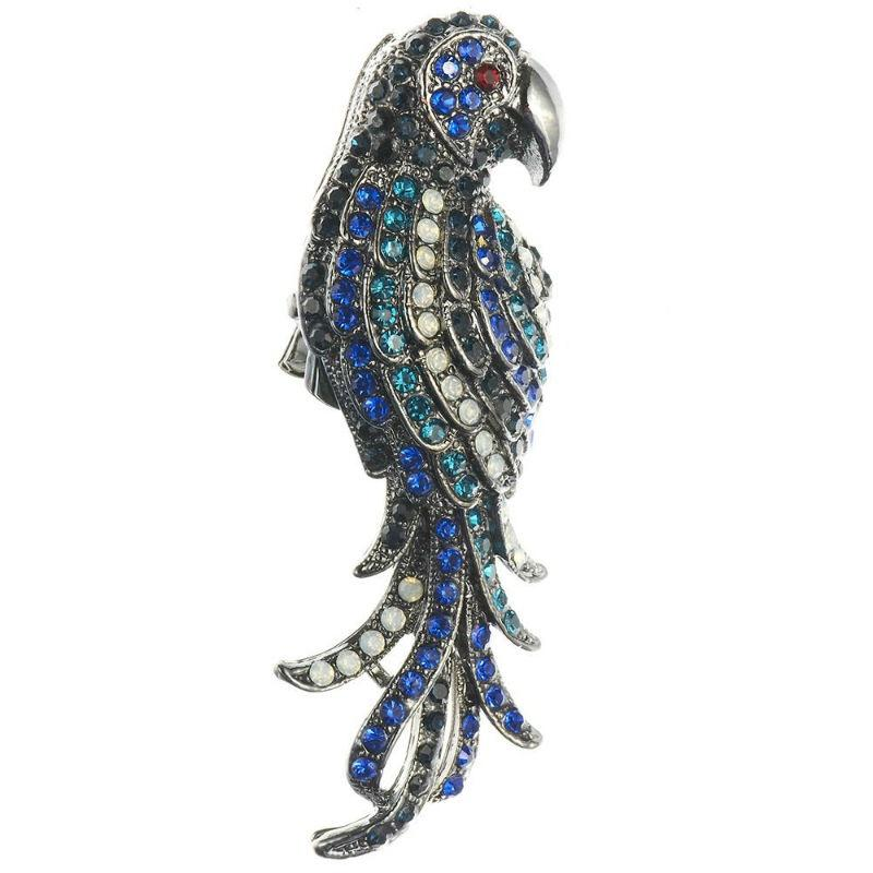 Blue Parrot Crystal Hair Clip and Brooch-Brooches-Rosie Fox-Tegen Accessories