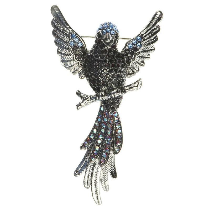 Blue Phoenix Crystal Hair Clip and Brooch-Brooches-Rosie Fox-Tegen Accessories Silver Black Silver Blue