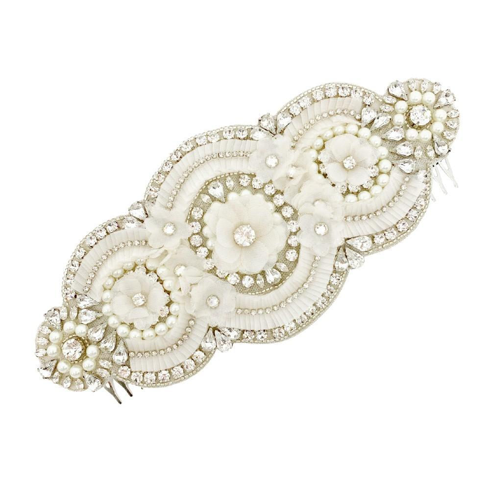 'Bridget' Swarovski Crystal and Pleated Material Hair Comb - HAIR COMBS - TEGEN Accessories - Eliza Vale - White Grey Silver Cream Pearl