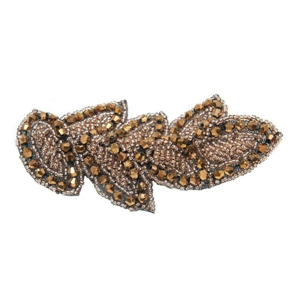 Bronze Beaded Leaf Hair Accessory-Clips & slides-Gil Fox-Bronze-Tegen Accessories