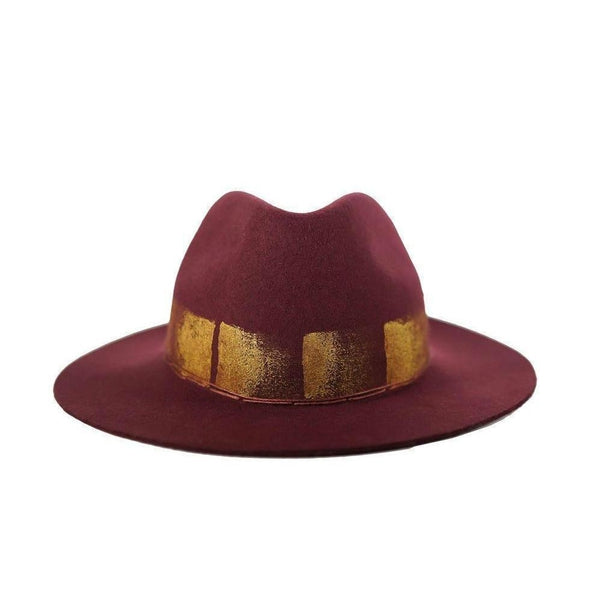Burgundy & Gold Fedora Hat-Hats-Alpachura Hats-Burgundy-Tegen Accessories