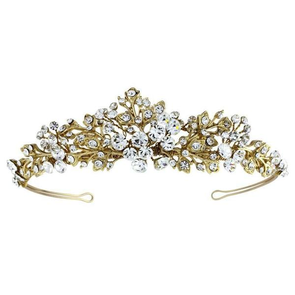 Caroline Crystal Floral Tiara-Tiaras-Bridal-Gold-Tegen Accessories Gold