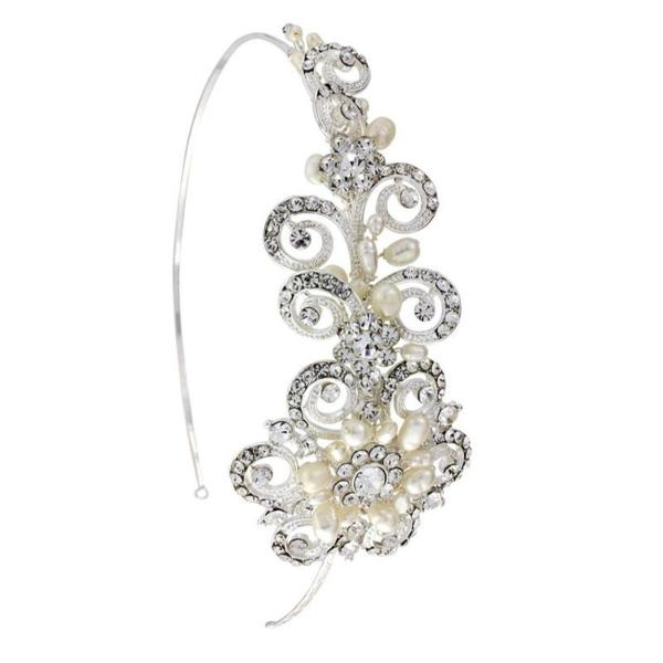 'Cecilia' Bridal Crystal and Pearl Headband-Headbands-Bridal-Tegen Accessories