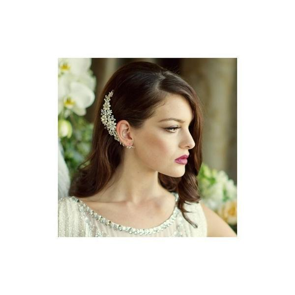 'Chloe' Daisy Crystal & Pearl Bridal Comb-Hair combs-Bridal-Tegen Accessories Cream Pearl Crystal