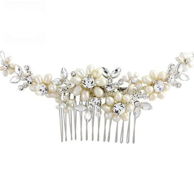'Chloe' Daisy Crystal & Pearl Bridal Comb-Hair combs-Bridal-Tegen Accessories