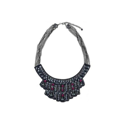 'Chrysler' Crystal Necklace-Discontinued-Pewter-Tegen Accessories
