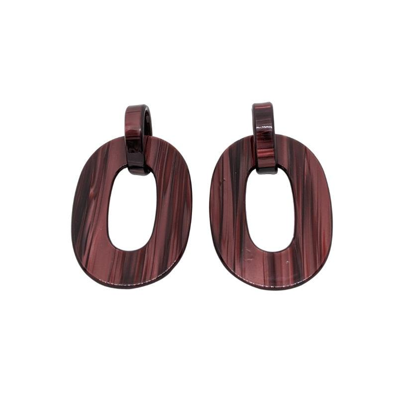 Chunky Interlocking Oval Resin Earrings-Earrings-Big Metal-Wine-Tegen Accessories Red Purple