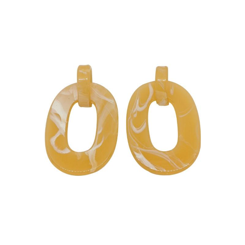 Chunky Interlocking Oval Resin Earrings-Earrings-Big Metal-Yellow-Tegen Accessories